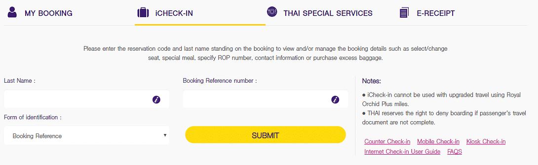 Thai Airways Online Check In