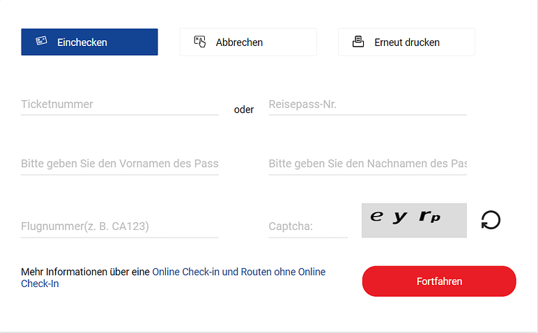 Air China Online Check In