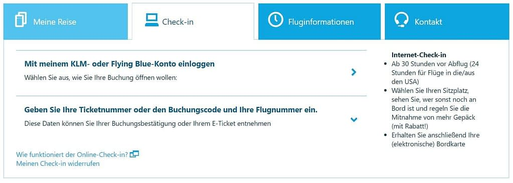 KLM Online Check in